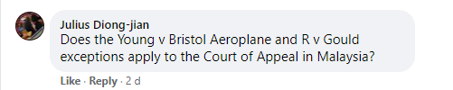 Does the Young v Bristol Aeroplane and R v Gould exceptions apply to the Court of Appeal in Malayisa